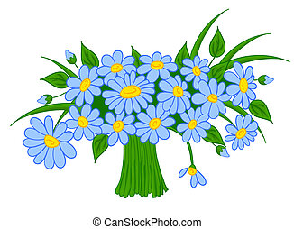 animated cartoon bouquet of daisies