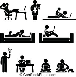 Work From Home Office Freedom - A set of pictograms...