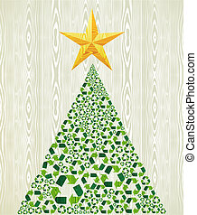 Christmas recycle pine tree over wooden seamless pattern...