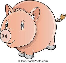 Cute Farm Pig Vector