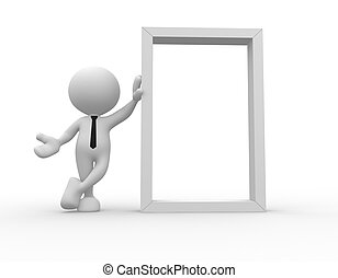Board - 3d people - man, person with a blank frame board.