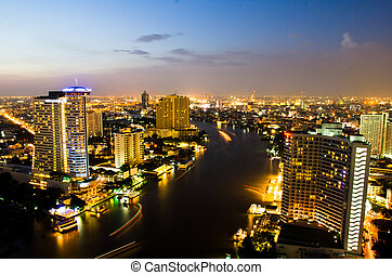 Bangkok City Night, Thailand.