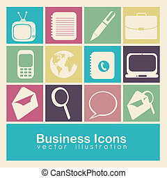 business icons - Illustration of business icons colore...