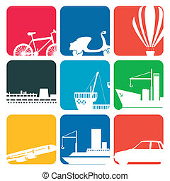 transportation icons colore - Illustration of transportation...