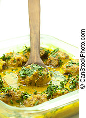 Curry- gravy food - Food of potato or egg or meet garnish...
