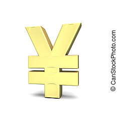 Yen currency symbol on white background with clipping path;...