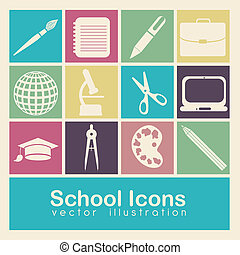 school icons - Illustration of school icons, student icons,...