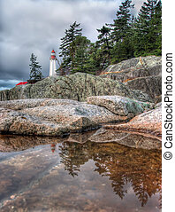 Lighthouse Reflection in Small Tidal Pool - Lighthouse...