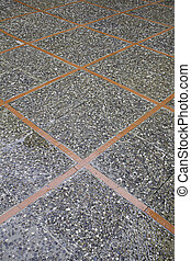 Stone floor with geometric shapes, construction