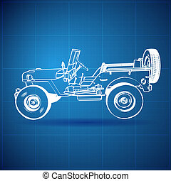 Vintage Blueprint of American Jeep. Vector Illustration.