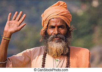 Indian sadhu welcomes - Indian sadhu holy man Devprayag,...