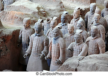 The famous terracotta warriors of XiAn, Qin Shi Huangs Tomb,...