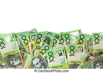 Australian Money Border over White - Australian one hundred...