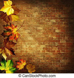 Abstract autumnal backgrounds against old brickwall