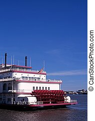 Paddle steamer, New Orleans. - Paddle steamer along the...