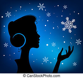 Christmas Eve background. Profile Silhouette of Pretty Young Girl Listening to Song Melody in Headphones with Snowflake in her Hand. Image May Be Use as Postcard or Placard