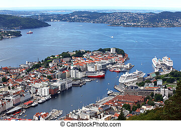 View of Bergen from Mount Floyen, Norway