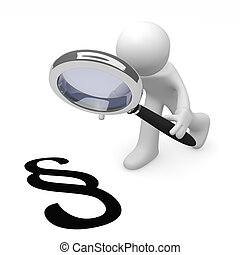 Law - 3d man with a magnifying glass and a paragraph icon on...