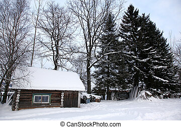 House in winter covered with snow, North Europe