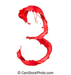"Red paint splash number ""3"" isolated on white background"
