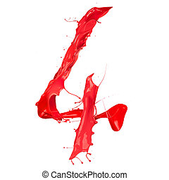 Red paint splash number quot;4quot; isolated on white...