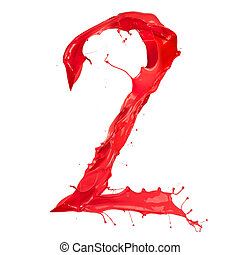 "Red paint splash number ""2"" isolated on white background"
