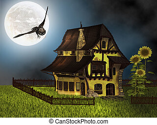 fantasy cottage in the night