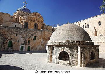 santissimo,  sepulchre, cúpula, lugar, igreja,  Jerusalém