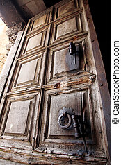 Ancient door of the church of the Holy Sepulcher, Jerusalem