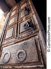 Classic Israel - Ancient door of the church of the Holy...