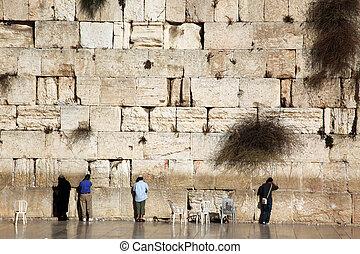 Jewish praying at the wailing wall, Western Wall, Kotel