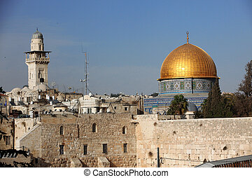 Western Wall (Wailing Wall, Kotel) and Dome of the Rock...