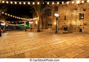 Classic Israel - Old street of Jaffa, Tel Aviv in the night