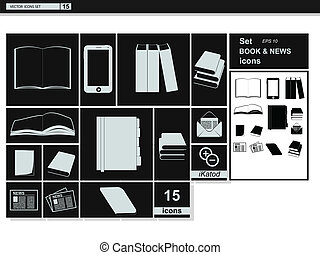 Vector collection web icons.  Book newspaper