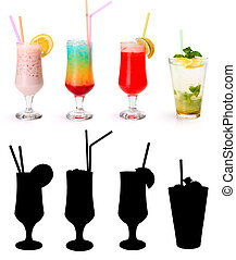 Various non-alcoholic cocktails and their rtansparency mask...