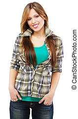 Cheerful girl in casual clothing, white background