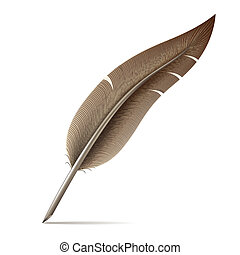 Image of feather pen on white background. Vector...