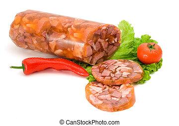 Pork brawn and slices, vegetables decoration