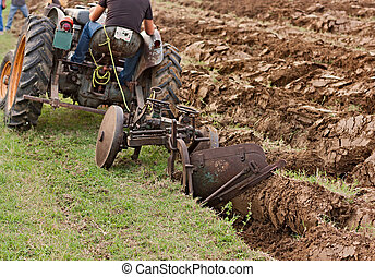 plowing with an old plow - plowing the field with an old...