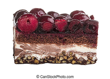 Chocolate cake with cherry on top on a white background