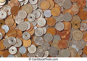Many Japanese coins - Background image of japanese coin.