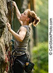 femininas, rocha, escalador
