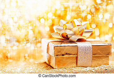 Golden Christmas gift background - A luxury gold Christmas...