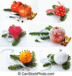 Collage of Christmas decorations - Collage of different...