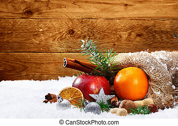 Artistic Christmas still life of fruit and spices