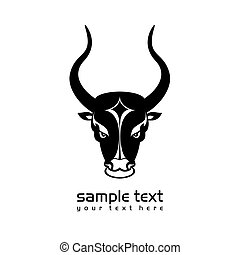 bull head - black and white bull head icon on white clean...