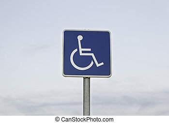 Traffic signal with handicapped, wheelchair, parking