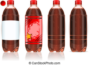 Four plastic bottles of cola with labels - Detailed...