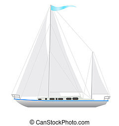 Sailing boat floating Vector illustration