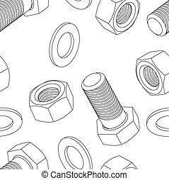 Stainless steel bolt and nut seamless wallpaper, vector...